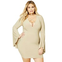 Khaki Black Caged V Neck Bodycon Flare Sleeve Dress Plus Size Women Sexy Clothes 2017 Vestidos