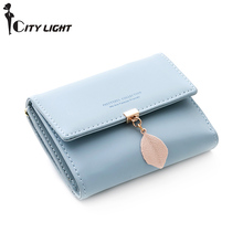 New Women PU leather Leaf Short Wallet Female Coin Purse Fas