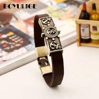 BOYULIGE Bracelet en cuir avec garniture de ruin, bijoux Punk, café, Bracelet de présentation pour hommes, crochets de Tennis, Style marine
