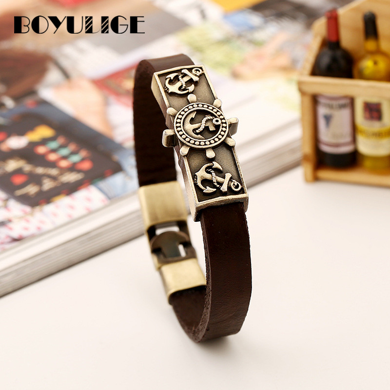 BOYULIGE Fashion Rudder Wrap Leather Chain Anchor Bracelet Punk Jewelry Coffee Men Wristband Bangle Hooks Navy Style Tennis Cuff(China)