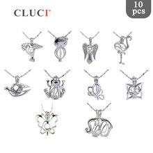 CLUCI 10 pièces/ensemble mixte oiseaux Styles argent plaqué Cages pour femmes souhait chaud perle médaillon bijoux MPC003SB