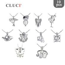 CLUCI 10 teile/satz Gemischt Vogel Stile Silber Überzogene Käfige für Frauen Heißer Wünschen Perle Medaillon Schmuck MPC003SB