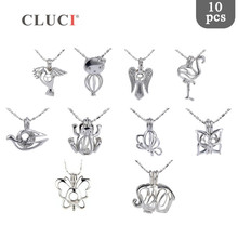 CLUCI 10pcs/set Mixed Bird Styles Silver Plated Cages for Women Hot Wish Pearl Locket Jewelry MPC003SB