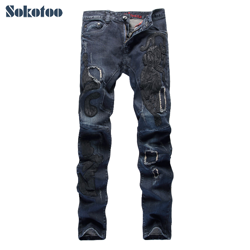 Sokotoo Mens fashion dark blue embroidery jeans Slim straight stretch denim pants Patchwork long trousers