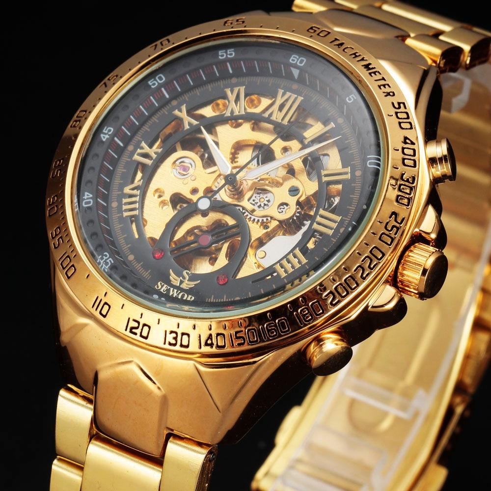 SEWOR Brand Stainless Steel Strap skeleton Automatic Mechanical Analog Men Wrist Watch Fashion Wristwatch 2016 New
