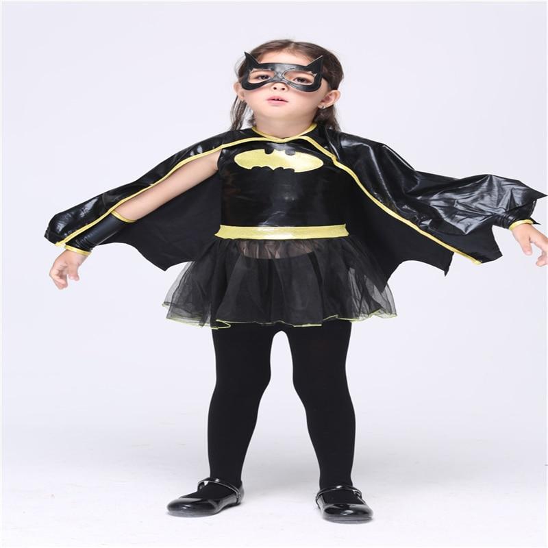 Bruce Wayne Christmas Halloween cosplay anime Batman Cosplay Child Dance Costume Girl Dress Cloak Wear Eye Gloves
