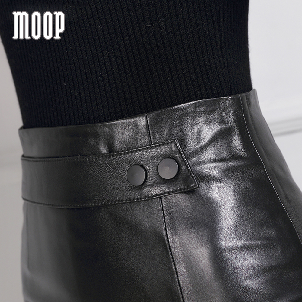 Glossy black leather pencil skirt women grained lambskin short slim skirt with split faldas jupe saia etek LT1208 Free shipping
