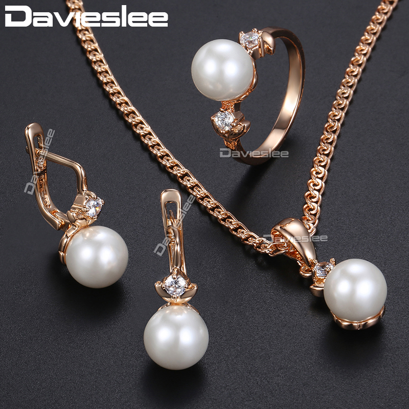 Davieslee Jewelry Set For Women CZ 585 Rose Gold Filled Women's Pearl Earrings Ring Pendant Necklace DGE161
