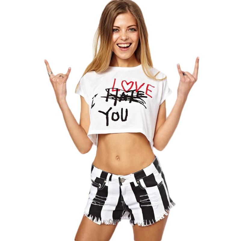 Summer <font><b>Sexy</b></font> Letter Print T-shirt Women 2017 Cotton <font><b>Harajuku</b></font> <font><b>Sexy</b></font> Beach CropTops Design Short Sleeve Loose Camisetas Mujer 40%W image