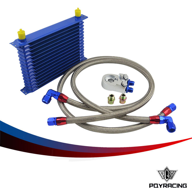 PQY RACING- 15 ROW AN-10AN UNIVERSAL ENGINE OIL COOLER KIT + ALUMINUM HOSE END KIT pqy store blue 15 row an 10an universal engine oil cooler kit aluminum hose end kit pqy5128