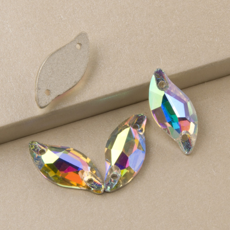Top 3254 Diamond Leaf Crystal AB Sew on Crystals 9x20mm 14x30mm Beads for Sewing Stones Flat Back Rhonestones for Clothing