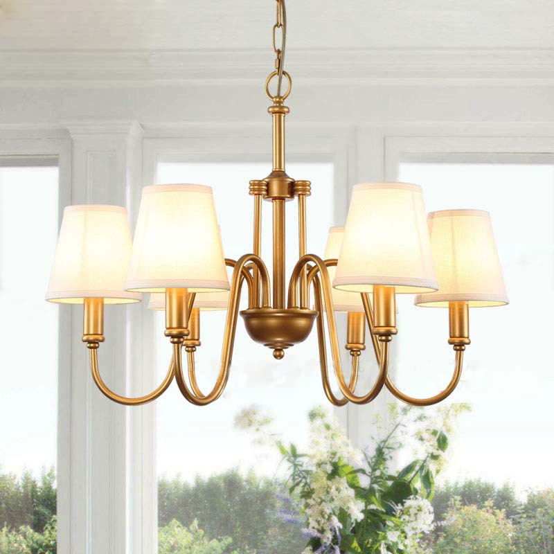 Online Shop 6 Arms America Chandelier Lamps BronzeBrass Plated – Bronze Chandelier with Shades