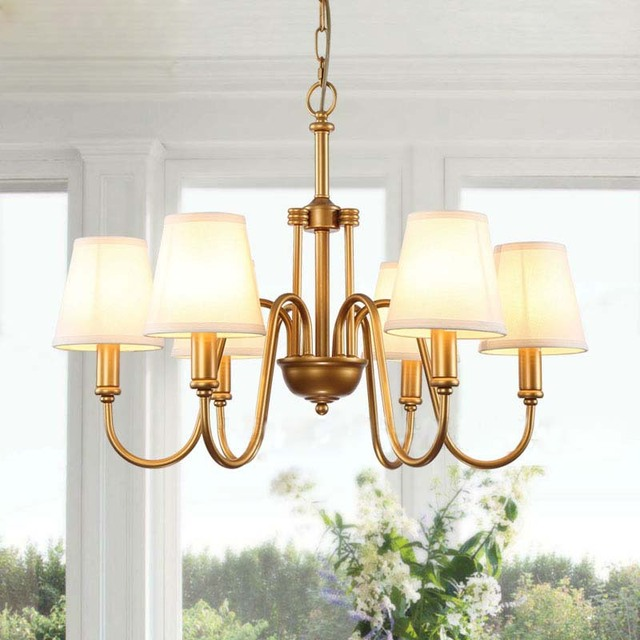6 Arms America Chandelier Lamps Bronze Brass Plated Metal Chandeliers With White Cone Fabric Shade