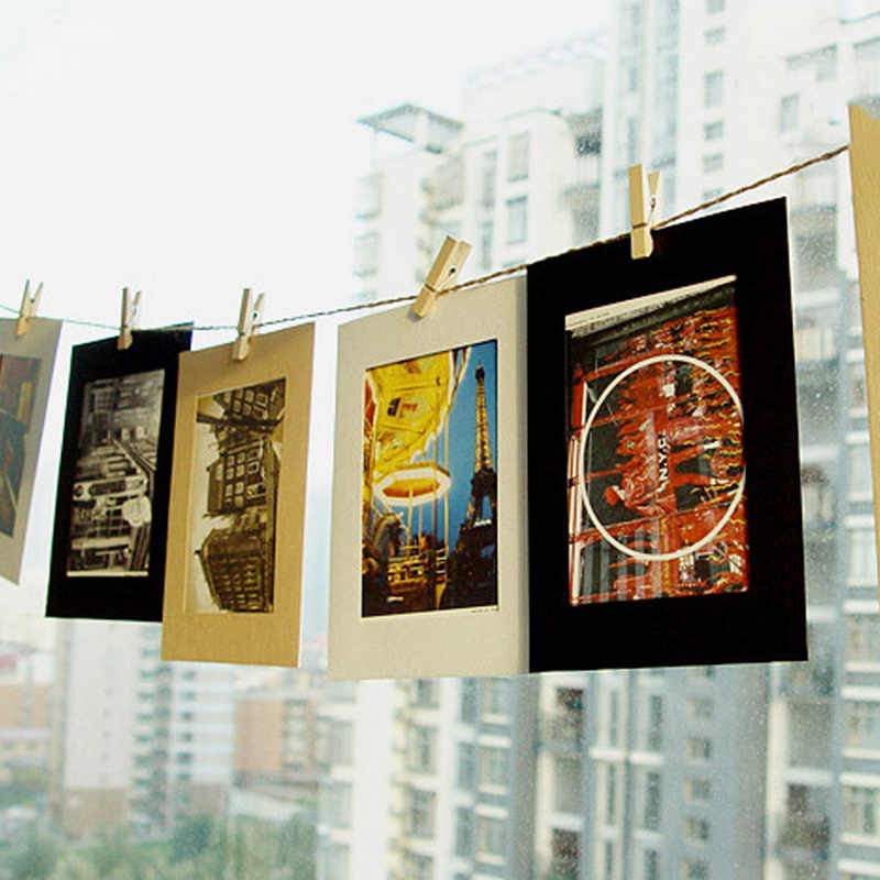 6//7 Inches 10Pcs Paper Frame With Clips DIY Hanging Album Frame Home Decor C3Q2