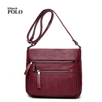 Brand 2017 High Quality Sheepskin Women Messenger Bags Shoulder Leather Bags Women Double Zippers Crossbody Bag