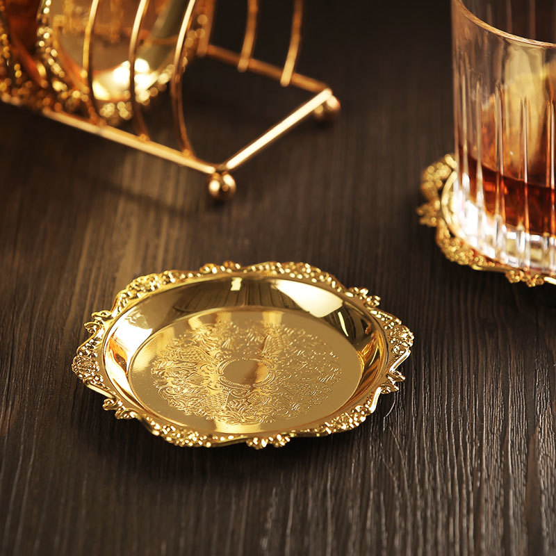 6pc Classical Golden Cocktail Metal Coaster Continental Vintage Zinc Alloy Silver Plated Gold Plated Mat placemat 3