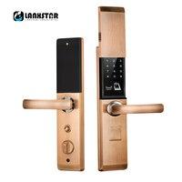 LANXSTAR отпечатков пальцев RFID карты пароль ключи приложение 5 в 1 Smart Lock слайд Обложка Anti theft двери замок интеллектуальные замки