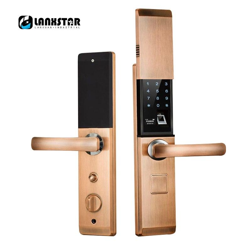 LANXSTAR empreinte digitale RFID carte mot de passe clés APP 5 en 1 serrure intelligente couvercle coulissant antivol serrure de porte serrures intelligentes