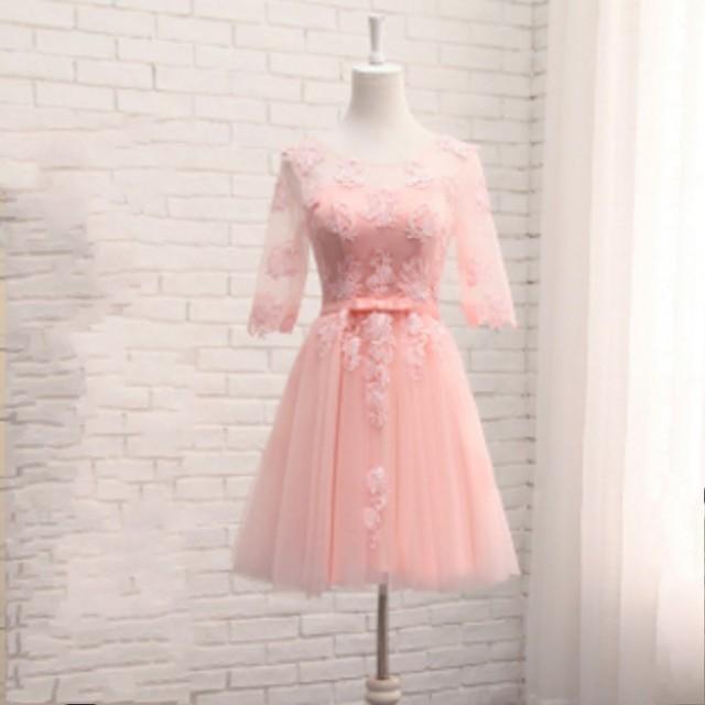 2017 nuevo blanco rojo rosa champagne lace cocktail dress tulle ...