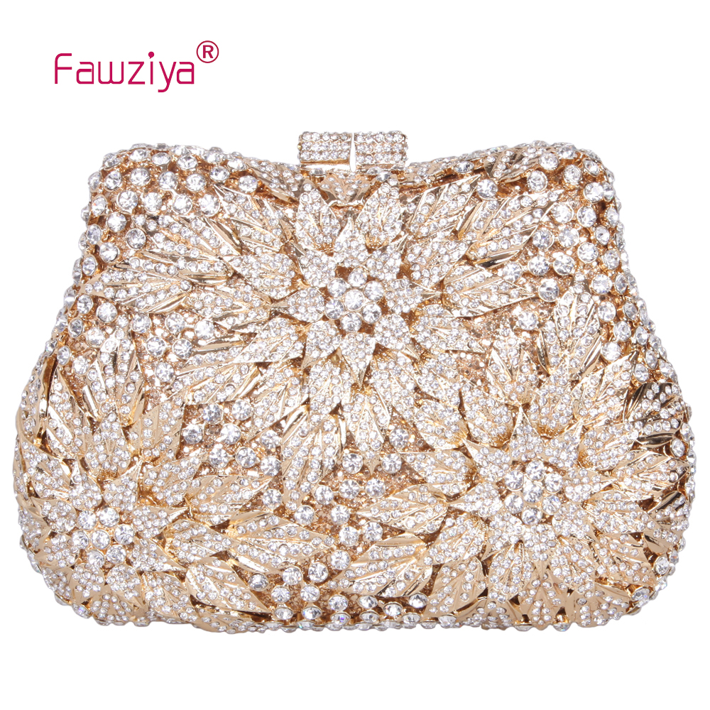 Fawziya Valentine Bags Ladies Clutches With Flower Blossom Evening Purse Rhinestone Crystal Clutch Bag