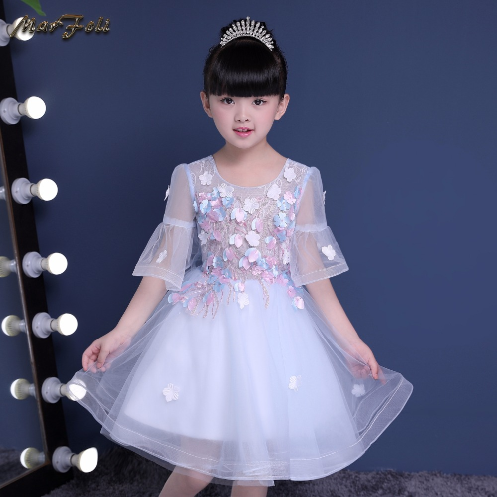 Princess blue Tulle Lace flower Tutu A-Line Long Flower Girl Dresses 2017 Girls First Communion holy Birthday Dresses
