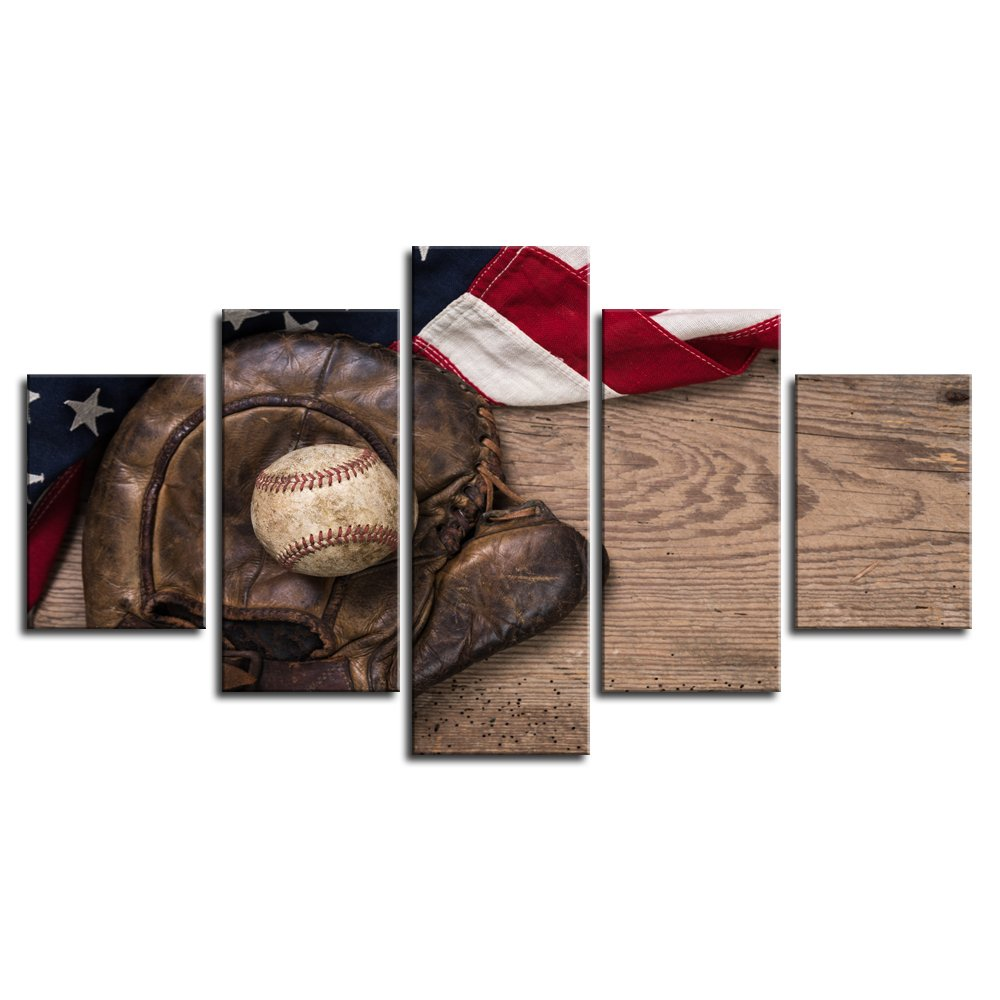 Us 27 0 5 Pcs Baseball Sports Decor Us American Flag Rustic Wall Art Canvas Retro Prints Home Decor Pictures For Bedroom Livingroom In Painting