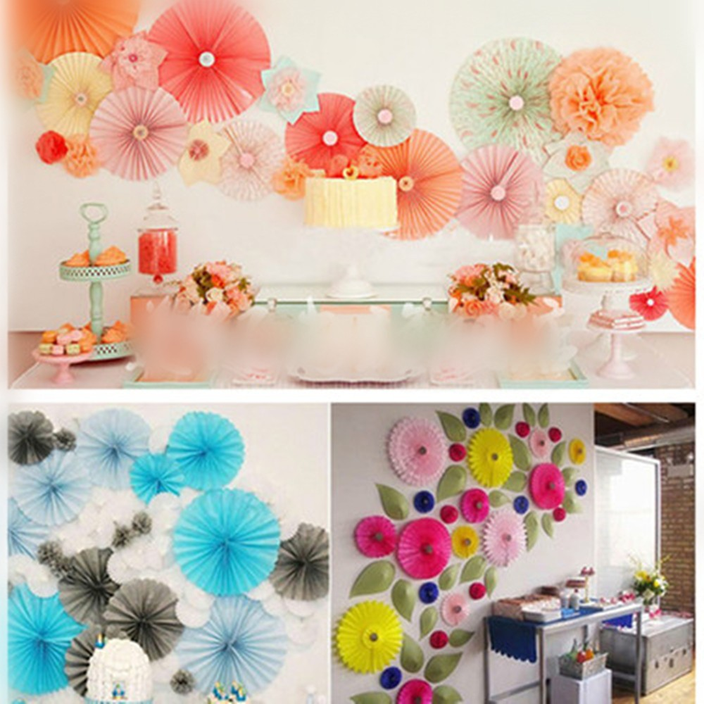 Decorative Crafts 30CM 1PCS Flower Origami Paper Fan Wedding Decoration Home Decorations Birthday Party Kids In Artificial Dried Flowers From