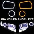 Бесплатная Доставка KIA K5 Специальный Ангел LED Глаз Квадратной Формы и круглая Форма 4 ШТ. Пользовательские DRL Два Цвета Белый Желтый 35 Вт 12 В