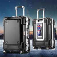 BeaSumore 事業アルミフレームローリング荷物スピナー 20 インチ学生にキャリーホイールスーツケース女性旅行バッグ