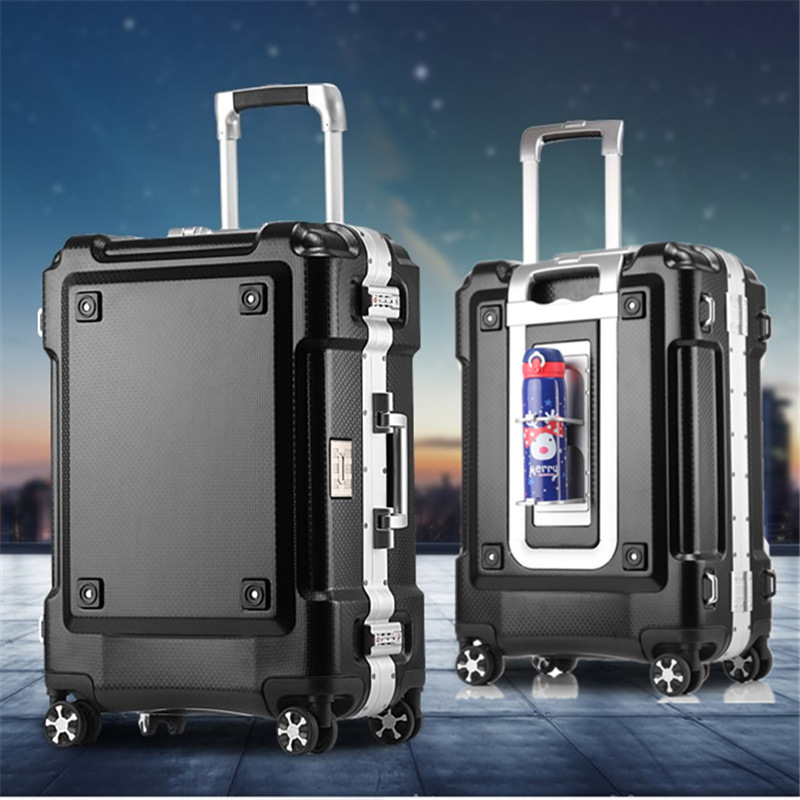 28743f8ef394 Business Aluminum Frame Rolling Luggage Spinner 20 inch Student Carry On Wheels  Suitcase Trolley Women Travel bag Trunk
