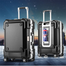 LeTrend Business Aluminum Frame Rolling Luggage Spinner 20 inch Student Carry On Wheels Suitcase Trolley Women Travel bag Trunk