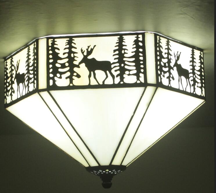 christmas at tiffany s Tiffany Christmas elk ceiling light southeast village color glass art Tiffany bar study bedroom Restaurant ceiling lamps ZA