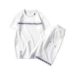 2018 г. летние мужские набор спортивных костюм Мужская футболка с короткими рукавами + шорты из двух частей фитнес комплект тренировочный