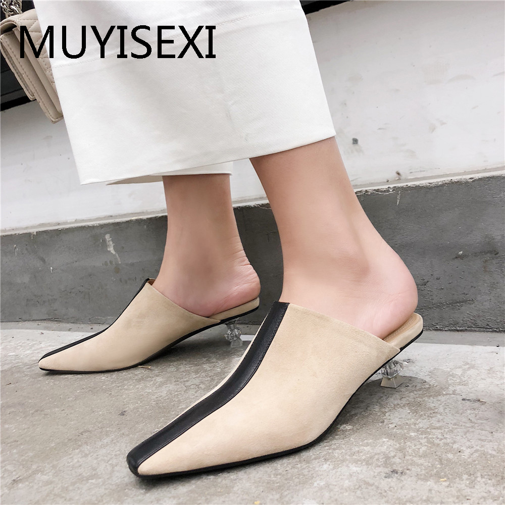 Brand Shoes Women Mules Full Genuine Leather 3 5 cm Low Transparent Heel Pointed Toe Fashion