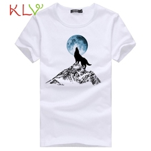2017  summer Fashion White Men Casual Shirts Slim Fit Wolf Printed T-Shirts Short Sleeve Tops