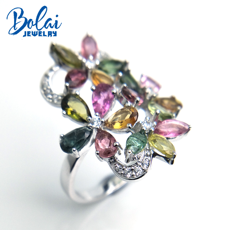 Bolaijewelry,petals and Leaf natural fancy color tourmaline Ring in 925 sterling silver fine jewelry for girl as gift with box-in Rings from Jewelry & Accessories    2