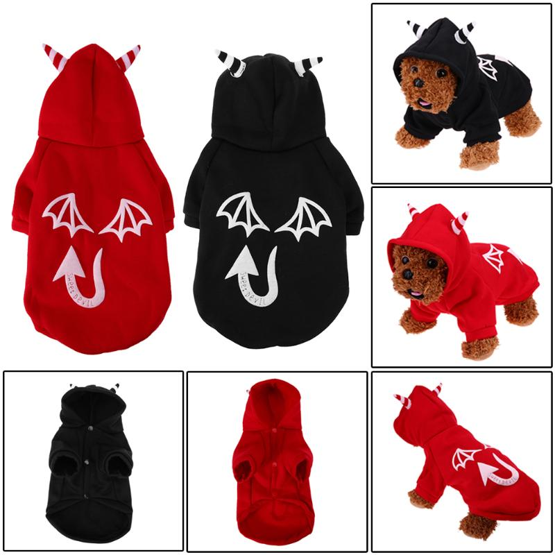 Novel Puppy Pet Dog Cat Clothes Hoodies Halloween Party Glow At Night Evil Hooded Coat Sweater Puppy Kitten Apparel Clothes