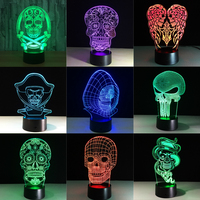 skull 3D Table Lamp LED Colorful Dog Nightlight Kids Birthday Gift USB Sleep Lighting Home Decoration with 7 Colors