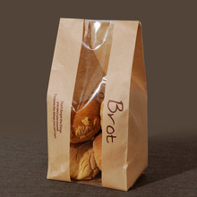 20 Pcs Bread Bag With Window Kraft Bag Paper Food Packaging To The School White Baking Toast Bakery Bread Bags With Sticker 100 pcs bread bag 57x10x4cm kraft paper food packaging bakery baking baguette paper bread bags with window customized supplier
