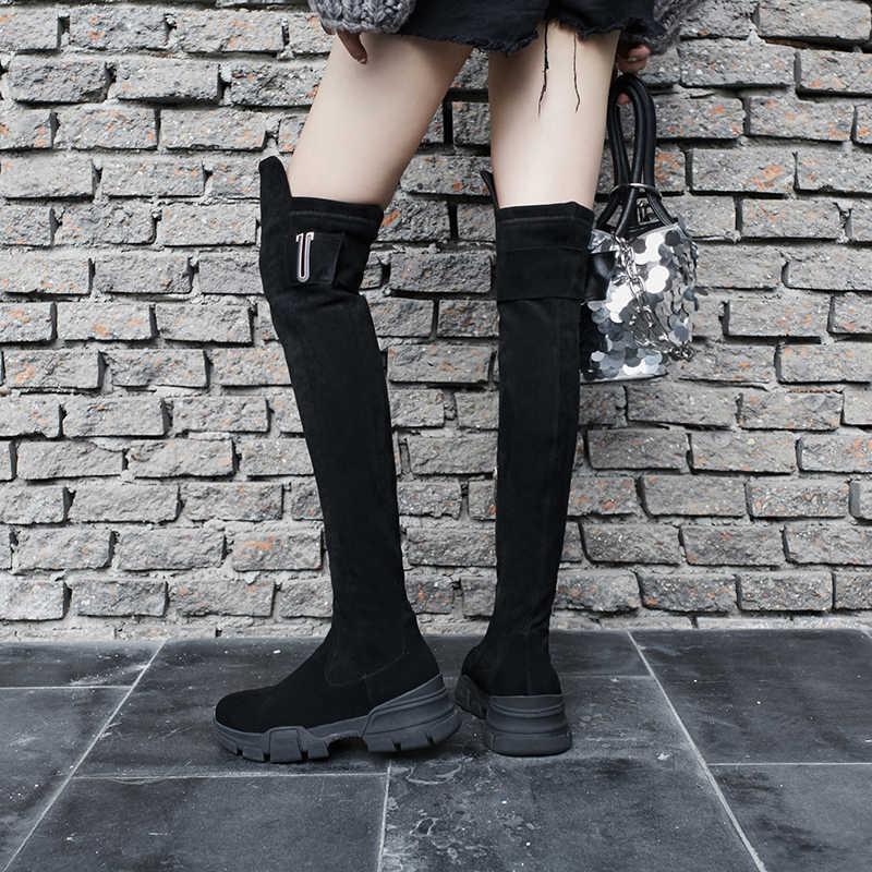 2020 Siêu Sao Mùa Đông Giày Nền Tảng Kid Da Lộn Khóa Kéo Nêm Over-The-Đầu Gối Giày Boot Nữ Khóa Nữ Công Sở Đùi giày Cao Cổ L04