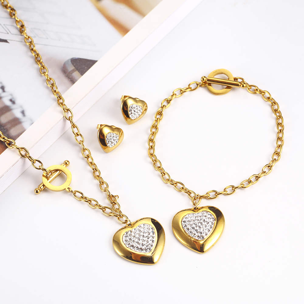 OUFEI Stainless Steel Jewelry Woman Sets Heart Necklace Earrings Bracelet Set Accessories Fashion Jewelry sets Gifts For Women