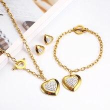 OUFEI Stainless Steel Jewelry Woman Sets Heart Necklace Earrings Bracelet Set Accessories Fashion Jewelry sets Gifts For Women newest stainless steel fashion heart jewelry 2 colors necklace and earrings sets for women sbjjgbed