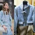 Синий коротко острижены тонкий твидовый пиджак 2015 женщин впп куртки пальто с длинными рукавами Casaco Feminino