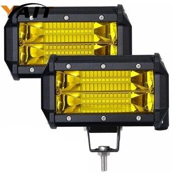 Светодиодный светильник, 2 шт., водонепроницаемый, 5 дюймов, 72 Вт, светодиодный точечный луч, внедорожный светодиодный светильник, янтарный с...