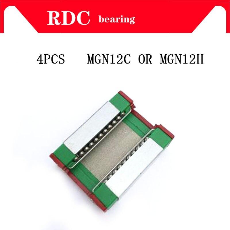 Hohe qualität 4 stücke MGN12H MGN12C linear lager schiebe spiel verwendung mit MGN12 linear guide für cnc xyz diy gravur maschine