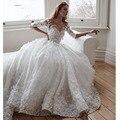 Гламурные Свадебные Платья Novias O Шеи Аппликация Бисером Раскаты Половина Рукава Бальное платье Свадебные Платья