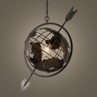 Nordic personality art cafe office lights modern creative iron earth globe arrow lights Pendant Lamp for Home Decor Restaurant