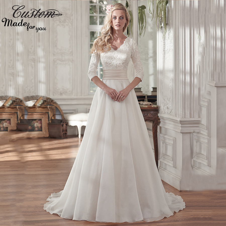 Vintage a line v neck lined three quarter sleeves custom for Cheap modest wedding dresses with sleeves