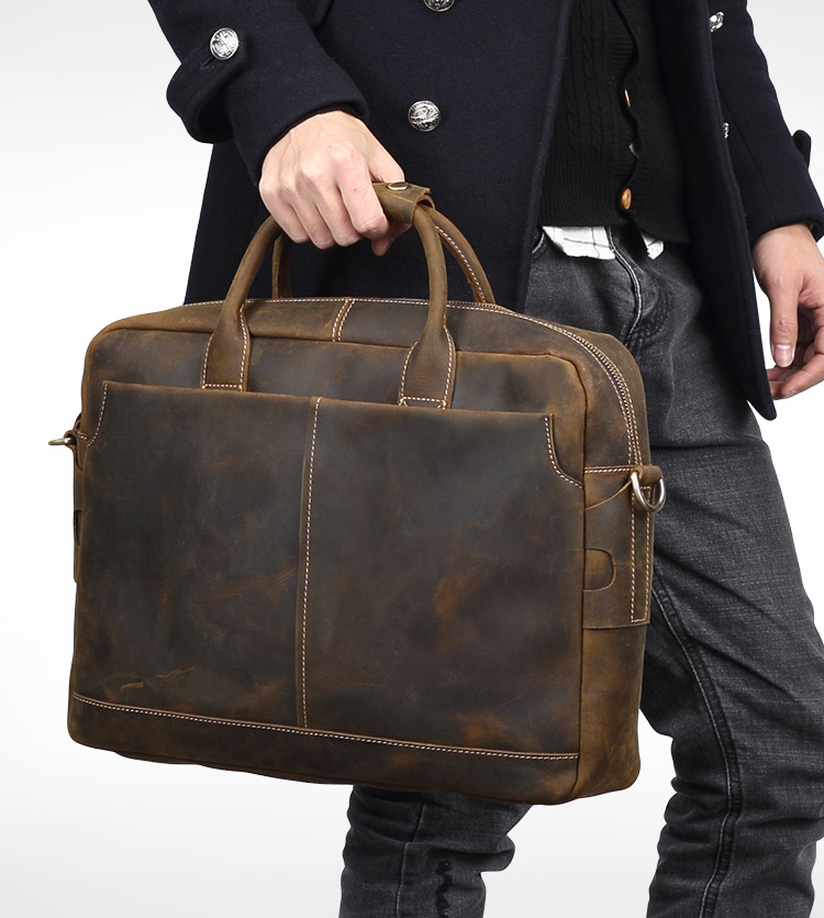 2018 new Men's Crazy horse Genuine leather briefcase Vintage 15.6 inch Laptop Messenger bag large capacity Business handbag