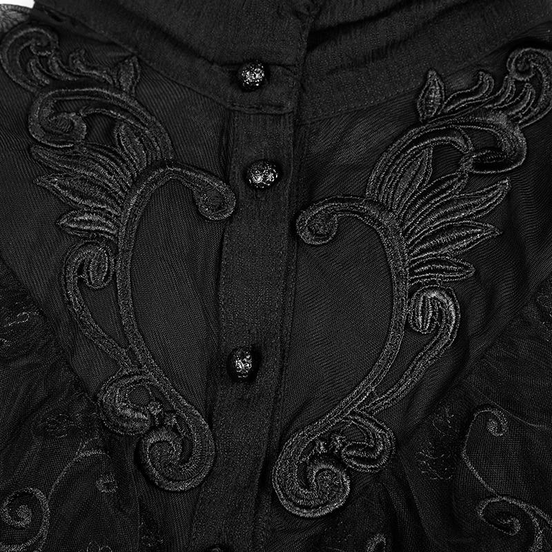 Trois Fête Mode De Trimestre Femmes Punk Kera Victorienne Rave Noir Chemise Rétro Gothique Manches T shirt Steampunk Hauts vn1Anazx